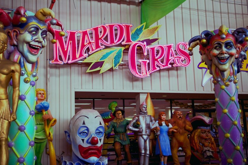 This photo taken Jan. 6, 2010 shows the entrance to Mardi Gras World located in a  300,000-square-foot facility where visitors can view actual Mardi Gras floats and watch as Mardi Gras workers create new additions for the floats in New Orleans. Mardi Gras falls on Feb. 17, 2016 the day before is Pr