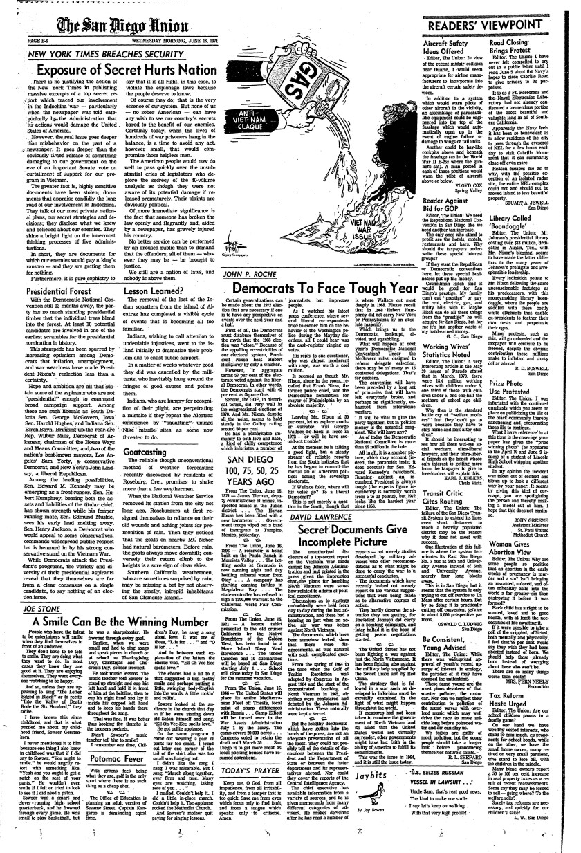 Editorial page from The San Diego Union published June 16, 1971.