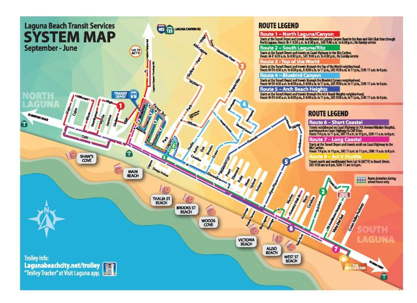 A map depicting the off-season Laguna Beach trolley routes.