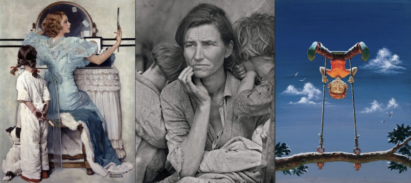 """A composite of works to be included in Lucas Museum of Narrative Art: """"Woman at Vanity (Girl Getting Ready for Date)"""" (Formerly """"Going Out""""), by Norman Rockwell, circa 1933, left; Dorothea Lange's """"Migrant Mother,"""" circa 1936; and Mort Drucker's """"MAD: #58"""" cover, circa 1960."""