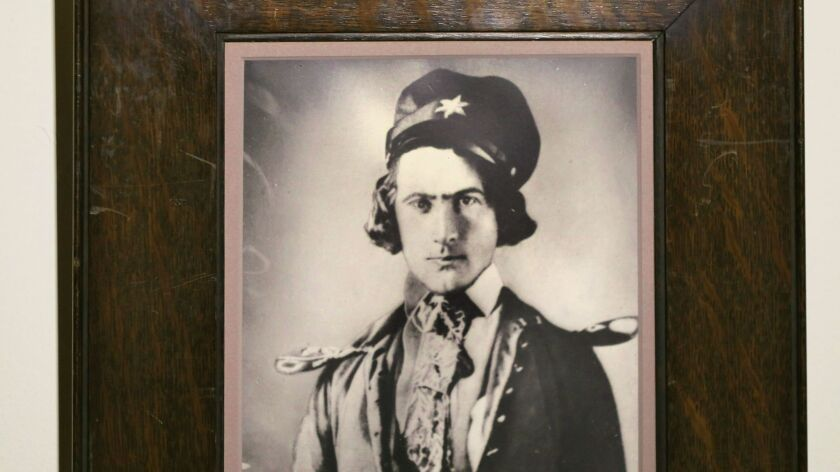 A portrait of Cave Couts hangs on the wall of the Rancho Buena Vista Adobe, which is family once owned.