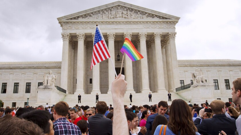 A crowd gathers outside the Supreme Court after the legalization of same-sex marriage on July 26, 2015. The last decade of high court cases has been a busy one, but the current docket doesn't look as exciting.