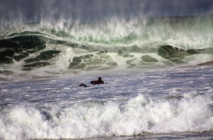 Surf's up off Pacific Beach.