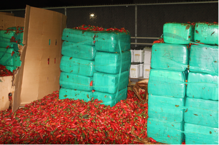 Large packages of marijuana with jalapeno peppers