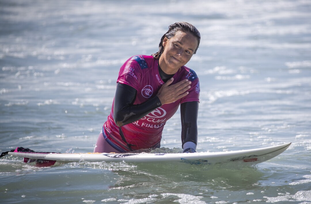 Sally Fitzgibbons, of Australia, thanks the crowd after she was defeated by Tatiana Weston-Webb
