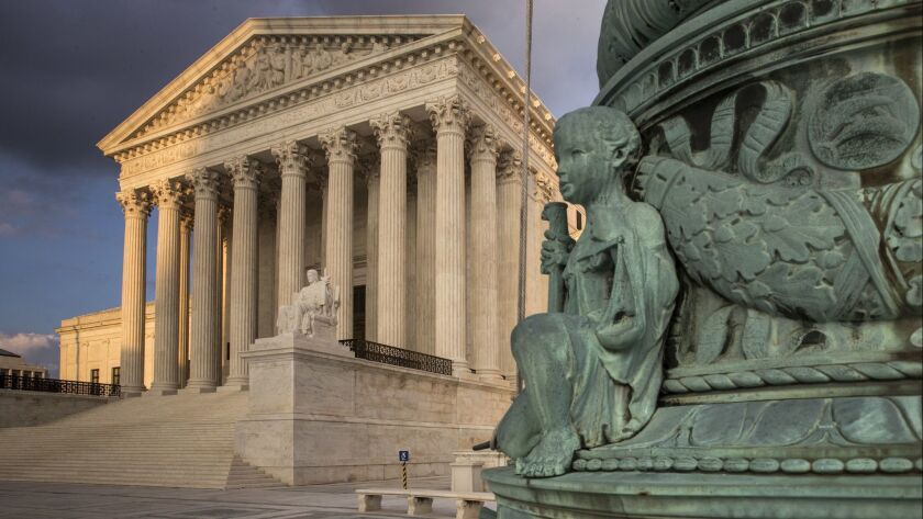 The Supreme Court in Washington is seen at sunset, Tuesday, Oct. 10, 2017. The Supreme Court is givi
