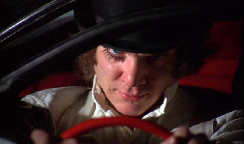"""Malcolm McDowell in """"A Clockwork Orange."""" (1971)"""