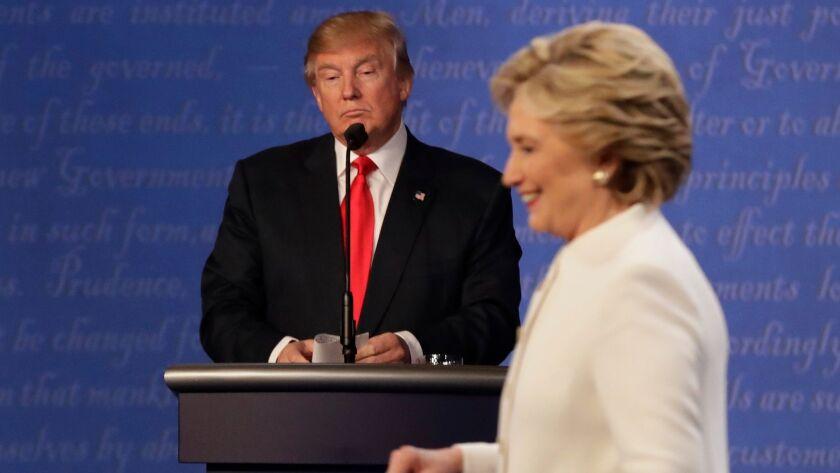 Donald Trump and Hillary Clinton in Las Vegas at their third debate.