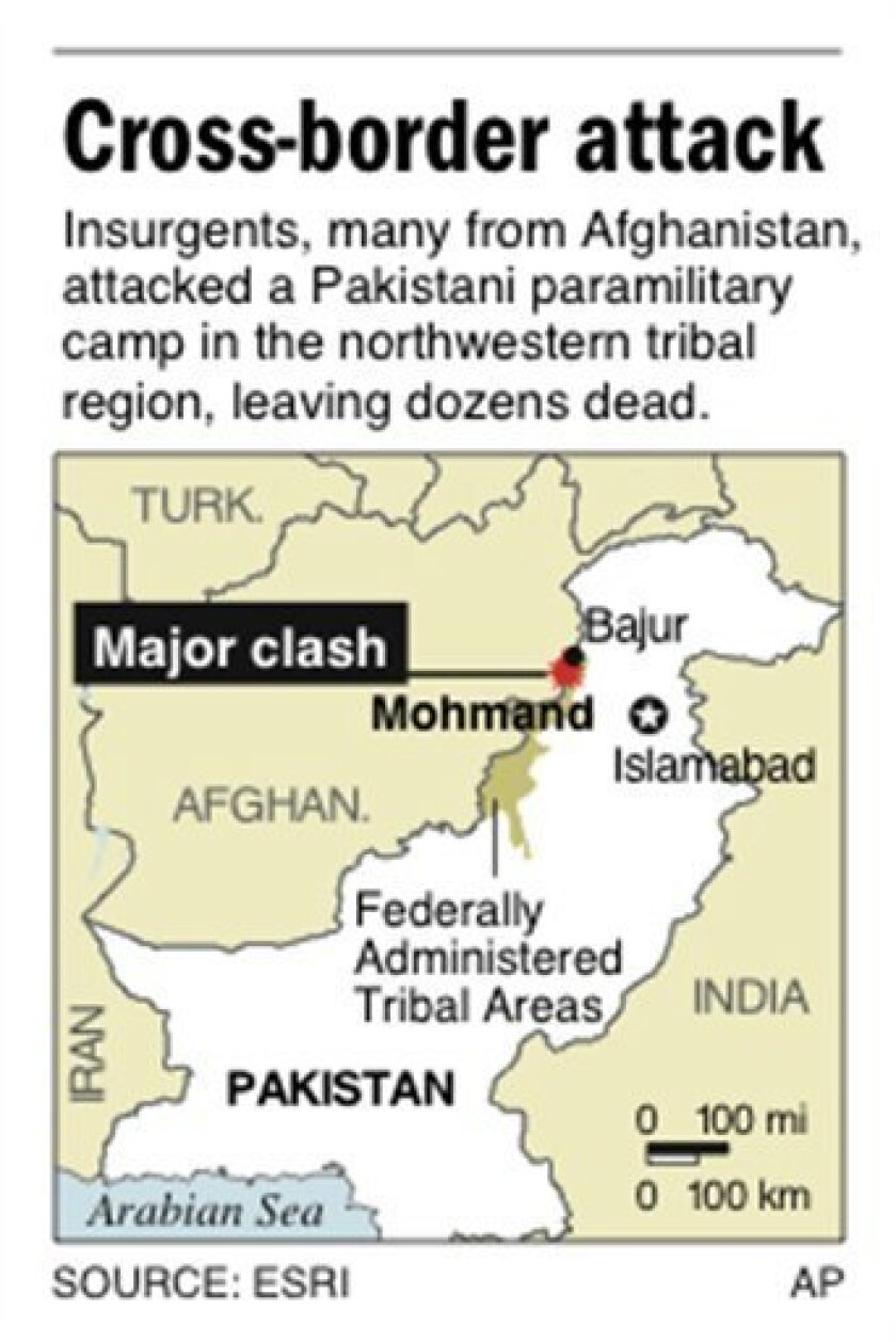 Map locates Mohmand in Pakistan�s tribal region, where militants attacked a paramilitary camp, killing at least 46; 6 c x 2 7/8 in; 295.2 mm x 73.025 mm