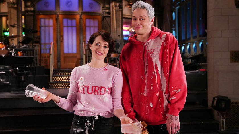 """Claire Foy and Pete Davidson in """"Saturday Night Live"""" on NBC."""