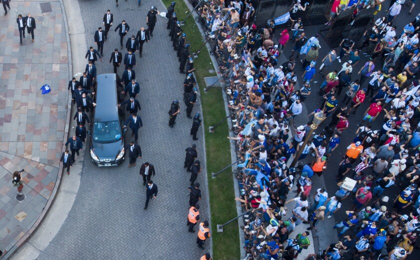 The hearse carrying the casket of Diego Maradona