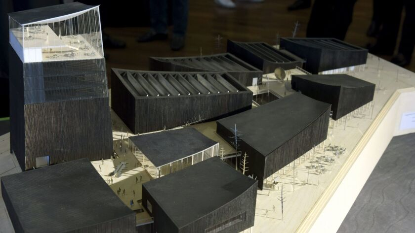 A file photo shows a model for the winning design for the Guggenheim Helsinki by French architecture firm Moreau Kusunoki.
