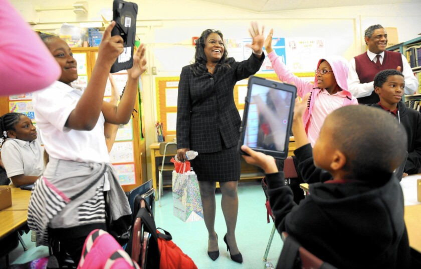 New Los Angeles Unified School District Supt. Michelle King tours Windsor Hills Elementary School in Los Angeles, which she attended as a child.