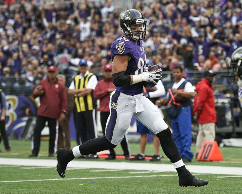 Baltimore Ravens tight end Crockett Gillmore (80) carries the ball into the end zone for a touchdown during the first half of an NFL football game against the San Diego Chargers in Baltimore, Sunday, Nov. 1, 2015. (AP Photo/Nick Wass)