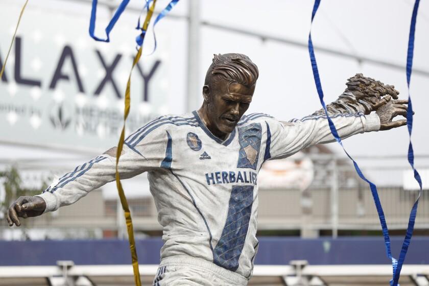 Los Angeles Galaxy Unveil David Beckham Statue