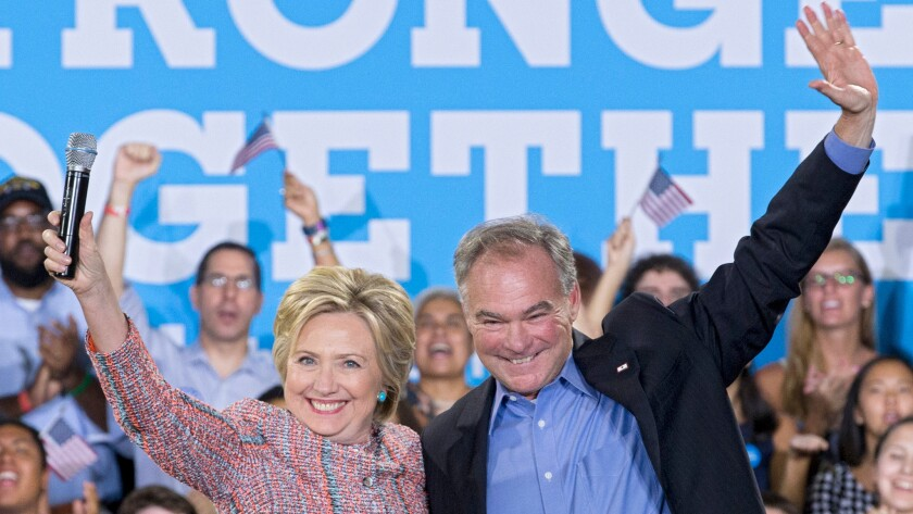 Hillary Clinton and Virginia Sen. Tim Kaine, shown campaigning in his home state this month, appeared together Saturday for the first time as the Democratic ticket for the White House.