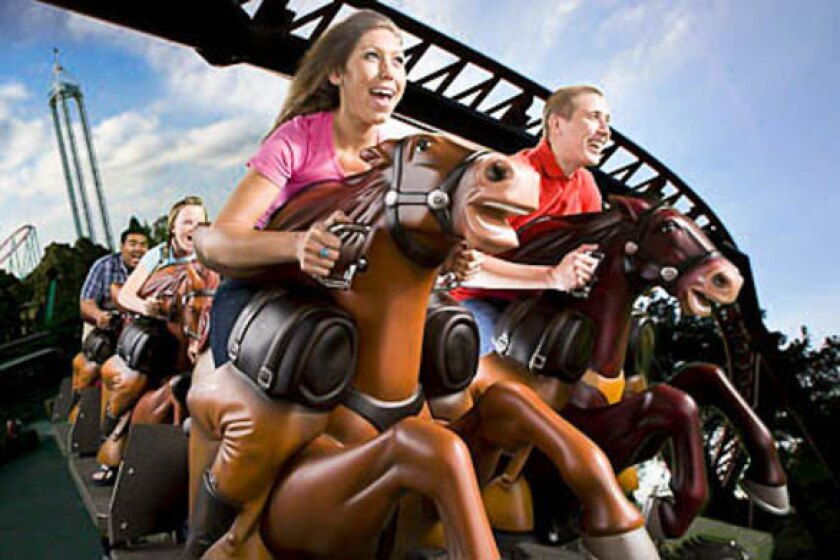 An artist's rendering of the Pony Express ride at Knott's Berry Farm.