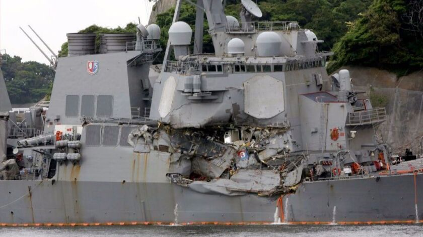 The USS Fitzgerald is docked at the U.S. Naval base in Yokosuka in 2017.