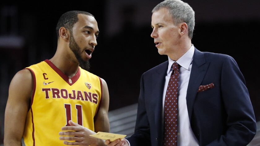 Jordan McLaughlin, talking with USC Coach Andy Enfield, says that playing in events like the NCAA tournament is something he dreamed about as a kid.