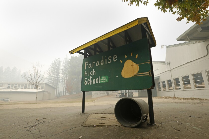 PARADISE, CALIFORNIA--NOV.14, 2018--Paradise High School was not damaged at all, but many of the stu