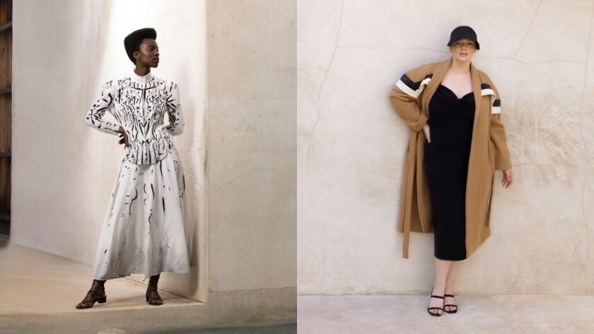 A diptych of two women, one in a white blouse and skirt and the other in a camel-colored coat over a black dress.
