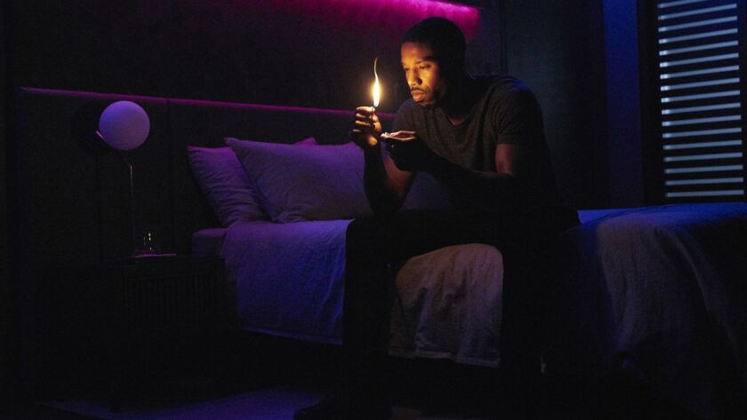 "Michael B. Jordan in a scene from ""Fahrenheit 451."" Credit: Michael Gibson/HBO"