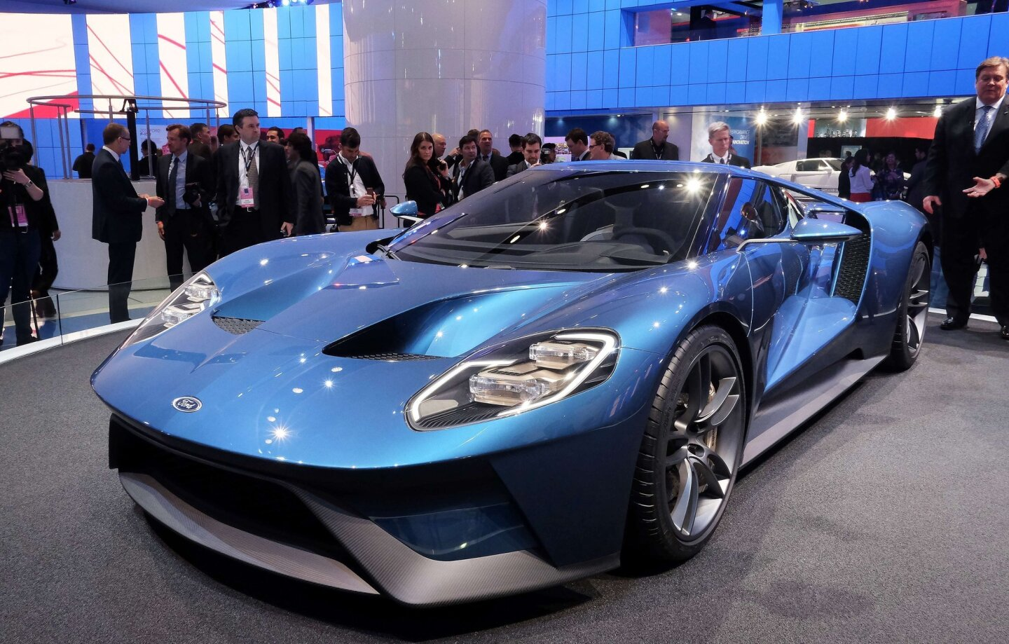 The new Ford GT is pictured at the Detroit Auto Show. Headed to production in 2016, the features a carbon fiber passenger cell and body panels, and a 3.5-liter twin-turbocharged V-6 engine that makes more than 600 horsepower.
