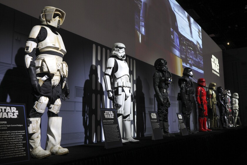 Stormtrooper mannequins on display at Comic-Con's Star Wars booth
