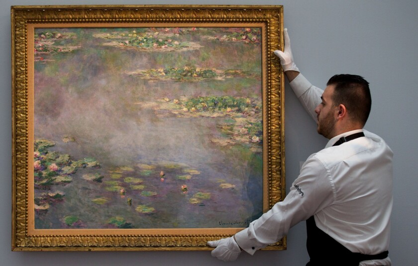 "A Claude Monet painting titled ""Nympheas,"" which dates from 1906, was sold at an auction in London for $54 million."