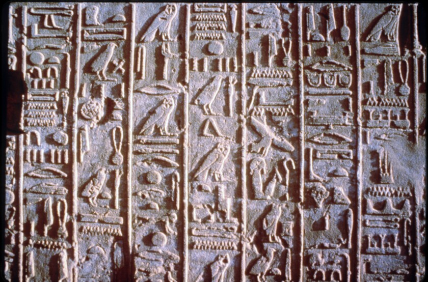 """Hieroglyphs cover a wall. The writing characters were used by ancient Egyptians. Fox announced Thursday that it is picking up a series called """"Hieroglyph."""""""