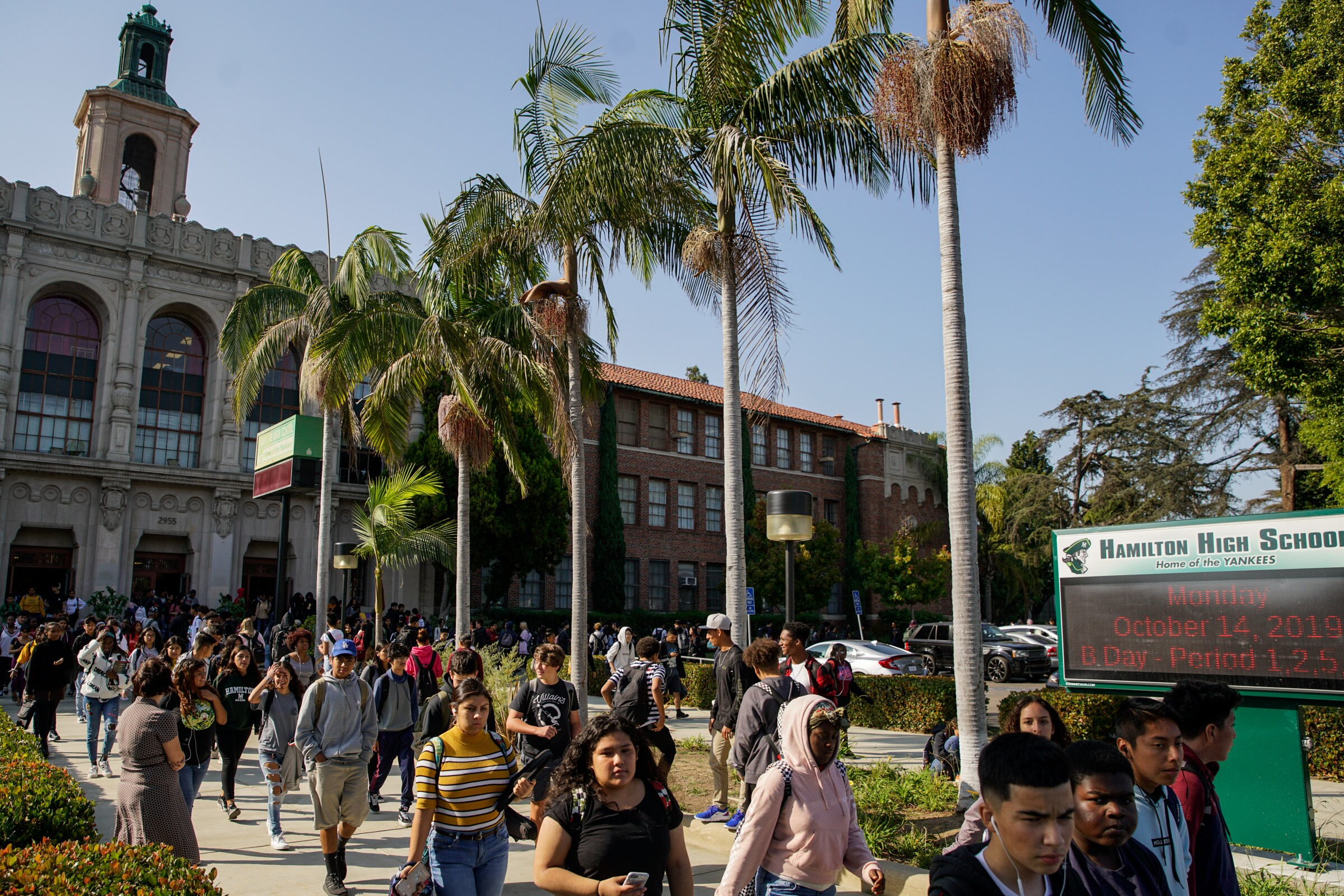 Students file out from Hamilton High School, an L.A. Unified campus with multiple magnet programs.