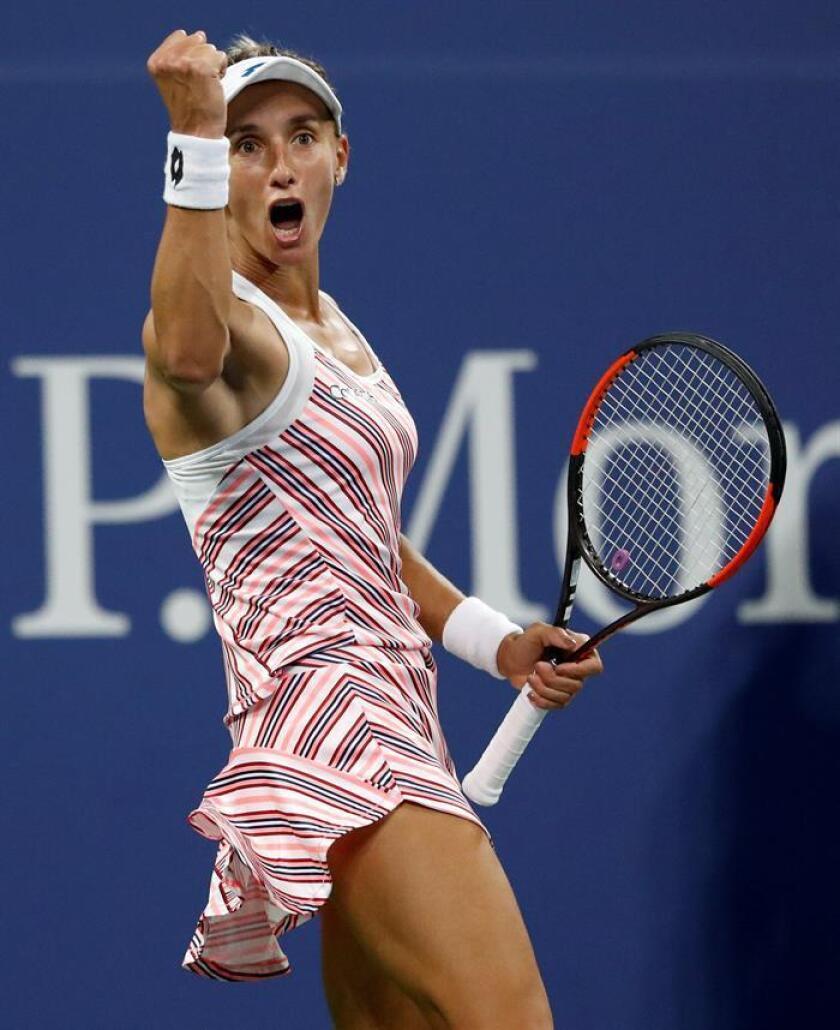 La tenista ucraniana Lesia Tsurenko celebra tras ganar a Caroline Wozniacki de Dinamarca el 30 de agosto de 2018, durante un partido correspondiente al cuarto día del Abierto de Tenis de Estados Unidos, en el Centro Nacional de Tenis USTA, en Flushing Meadows, Nueva York (EE.UU.) EFE