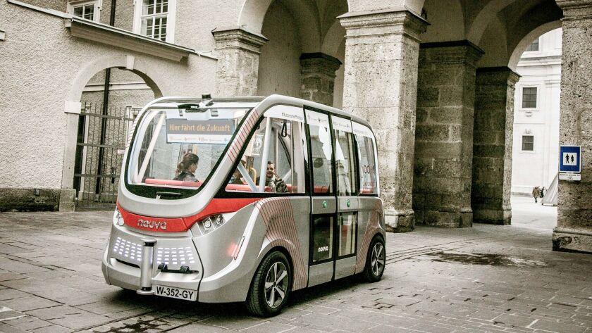 A Navya driverless shuttle at a research institute in Austria.