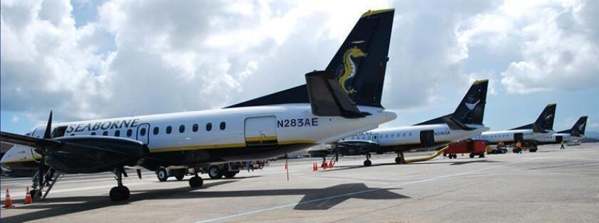 Vista de varios aviones de la aerolínea regional Seaborne Airlines. EFE/Archivo