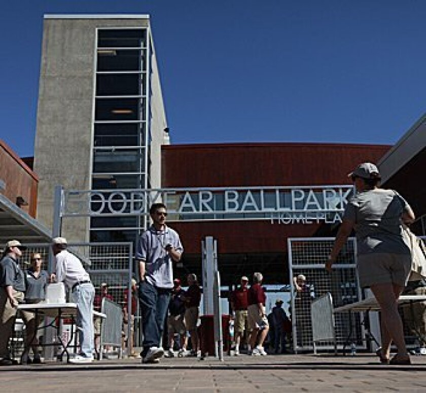 Here is the entrance to Goodyear Park, the spring training home of the Cleveland Indians, in Goodyear, Ariz.