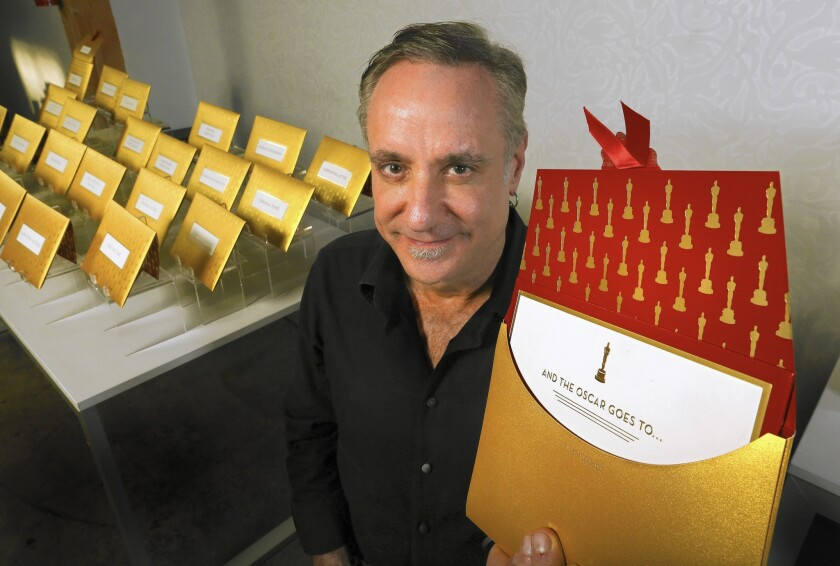 Creative Director Marc Friedland at his studio in Los Angeles where they make the Oscar envelopes for the Academy Awards show each year.