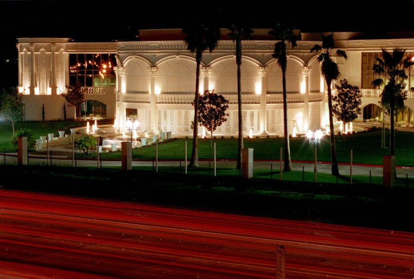 TBN's headquarters is lavishly aglow at night.