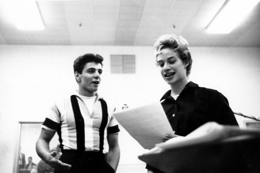 Husband and wife singer songwriting team Gerry Goffin and Carole King rehearse during a recording session in a New York, New York studio, circa 1959. Goffin died on Thursday.