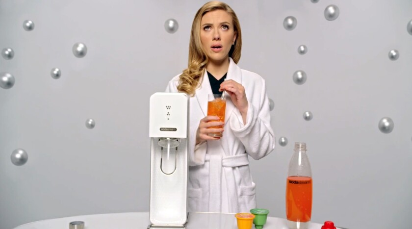 This frame grab provided by SodaStream shows the company's 2014 Super Bowl commercial featuring actress Scarlett Johansson.