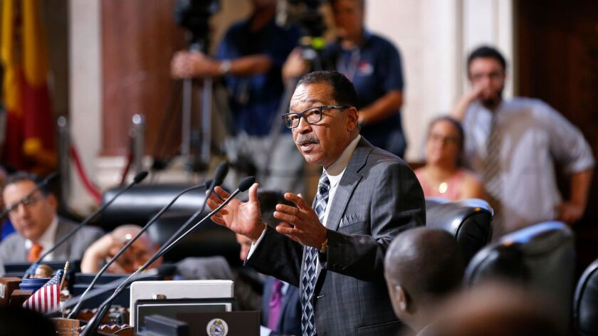 City Council President Herb Wesson speaks at Los Angeles City Hall last month.