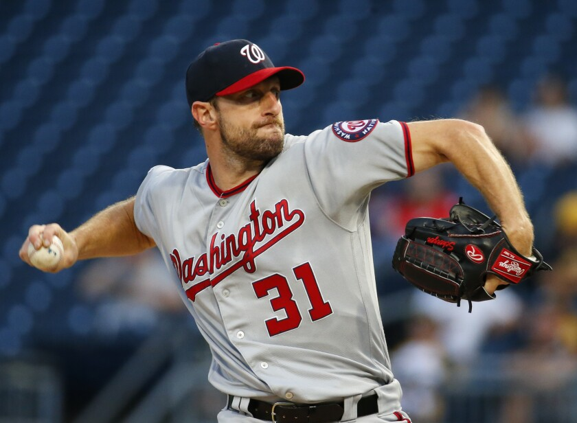 Washington Nationals starter Max Scherzer delivers a pitch.