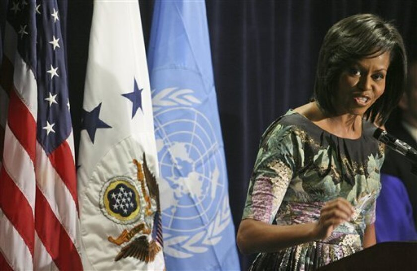First lady Michelle Obama speaks to employees of the U.S. Mission to the United Nations, Tuesday, May 5, 2009 in New York. (AP Photo/Mary Altaffer)