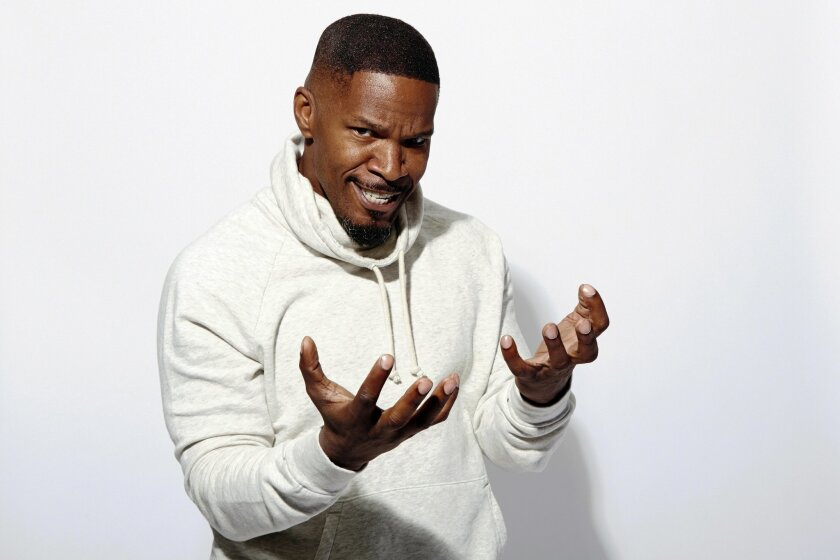 """Actor Jamie Foxx poses for a portrait at the Crosby Street Hotel, in promotion of his upcoming role in """"The Amazing Spider-Man 2,"""" on Sunday, April 27, 2014 in New York. (Photo by Dan Hallman/Invision/AP)"""