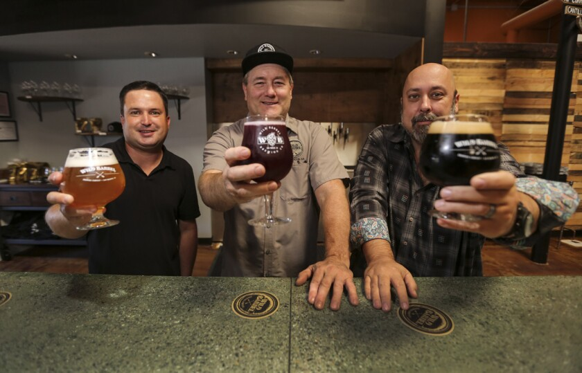 Oct. 5, 2017. San Marcos, CA. USA. |Wild Barrel Brewing partners, left to right, President Chris White, Dir. of Brewing Operations Bill Sobieski, and CEO Bill Sysak . |Photos by Jamie Scott Lytle. Copyright.
