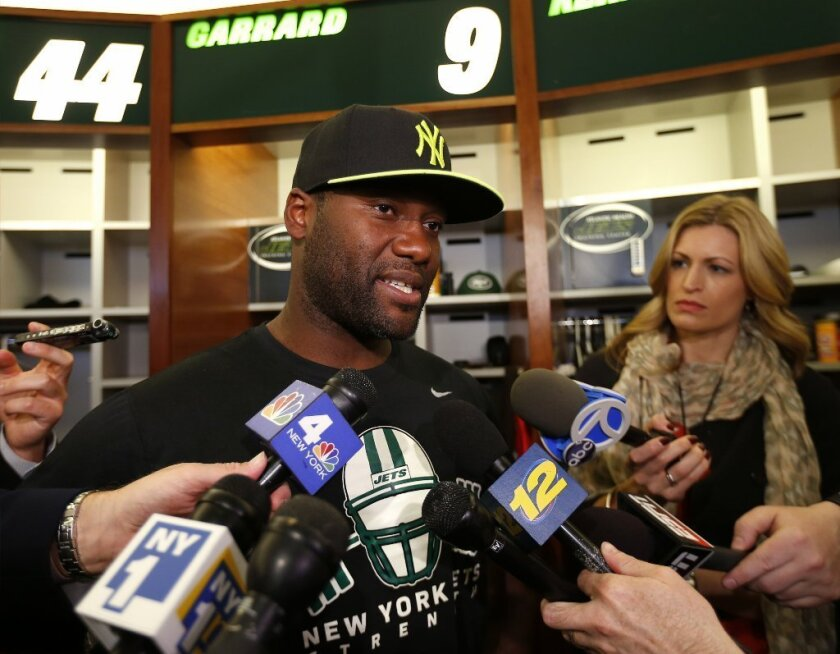 David Garrard speaks to reporters at the Jets training camp this month.