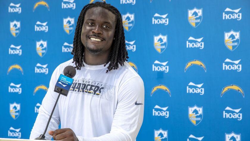 COSTA MEAS, CALIF. -- TUESDAY, JUNE 11, 2019: Melvin Ingram III talks with reporters at Hoag Perform