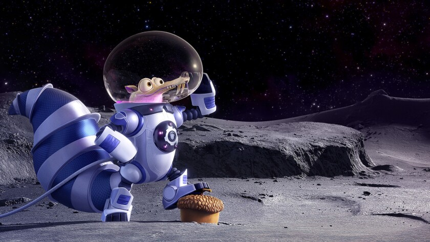 """The acorn-obsessed saber-toothed squirrel named Scrat in a scene from the animated movie """"Ice Age: Collision Course."""""""