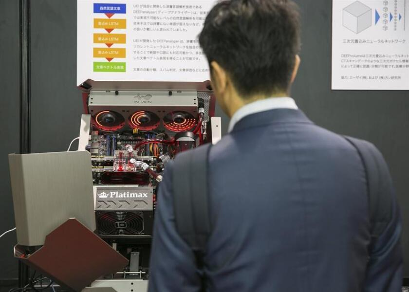 A UEI Corporation deep learning machine is seen on display during the Artifical Intelligence Exhibition and Conference (AI Expo) in Tokyo, Japan, 28 June 2017. EFE/EPA/FILE