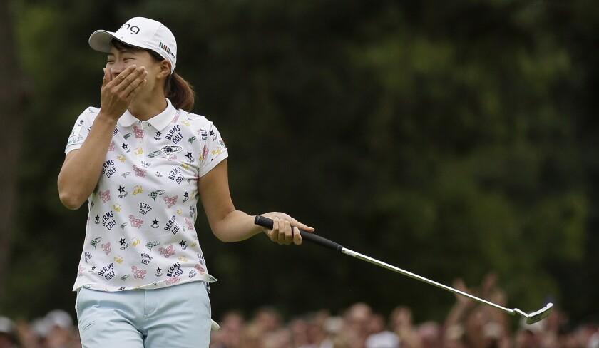 Hinako Shibuno celebrates after winning the Women's British Open.