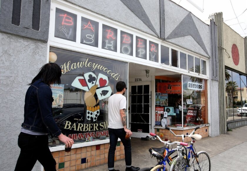Hawleywood's Barber Shop & Shaving Parlor in Long Beach, shown in April, was sued after it refused to cut a transgender man's hair.